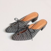 """NEW IN : Say hello to new member family """"Medy"""" Color : black with white stripes Made of nappa genuine leather Combined with denim fabric Genuine leather lining 40 mm heel height _ Shop only at : 🛒 tokopedia.com/vaia-official 📩 Contact@vaia.co.id __ #myVAIA #walkwithVAIA #VAIAlady #genuineleather #localbrand #localbrandid #premiumquality #leatherwork #leathergoods #indonesianleathergood #shoes #fashionblogger #blogger #bloggerstyle #embelishedshoes #embelishedshoes"""