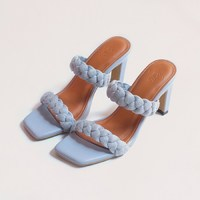 """NEW IN : Say hello to new member family """"Lyodra"""" Color : light blue Made of nappa genuine leather Genuine leather lining Braided style made from fabric material 90 mm heel height _ Shop only at : 🛒 tokopedia.com/vaia-official 📩 Contact@vaia.co.id __ #myVAIA #walkwithVAIA #VAIAlady #genuineleather #localbrand #localbrandid #premiumquality #leatherwork #leathergoods #indonesianleathergood #shoes #fashionblogger #blogger #bloggerstyle #embelishedshoes #embelishedshoes"""