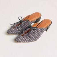 """NEW IN : Say hello to new member family """"Medy"""" Color : navy blue with pink stripes Made of nappa genuine leather Combined with denim fabric Genuine leather lining 40 mm heel height _ Shop only at : 🛒 tokopedia.com/vaia-official 📩 Contact@vaia.co.id __ #myVAIA #walkwithVAIA #VAIAlady #genuineleather #localbrand #localbrandid #premiumquality #leatherwork #leathergoods #indonesianleathergood #shoes #fashionblogger #blogger #bloggerstyle #embelishedshoes #embelishedshoes"""